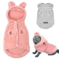 Warm Fleece Dog Winter Pajamas Cute Pet Cat Clothes Jacket Coat Small Medium Dog