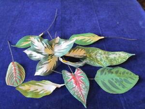"Vtg Millinery Flower Collection Tropical Leaf Foliage Green Fabric 4-10"" Y308B"