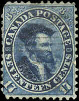 1859-64 Used Canada 17c F-VF Scott #19 Jacques Cartier First Cents Issue Stamp