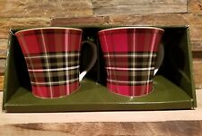 *NEW* 222 Fifth Wexford Red - Set of 2 Plaid Coffee Mugs