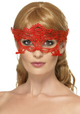 BRODÉ DENTELLE MASQUE YEUX COEUR ROUGE NEUF - Carnaval Masque Face
