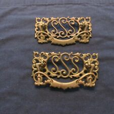 2 Matching Antique Arts & Crafts Cast Brass Drawer Pulls