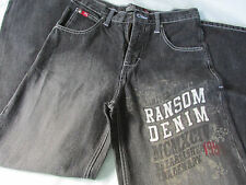 "NWOT BOYS ""RANSOM DENIM"" JEANS CHARCOAL MID-RISE 30""WX 28""INSEAM WIDE LEG SIZE14"
