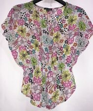 George floral sheer Top blouse Size Small  100% Polyester Gorgeous