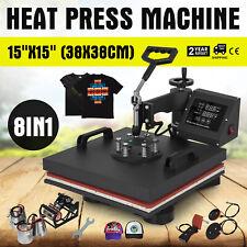 8IN1 Presse à Chaleur Presse à Chaud Pressage Casquette Vêtement 38X38cm