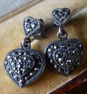 vintage 925 STERLING SILVER marcasite love heart dangle pierced earrings -N217