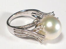 12.5mm white South Sea pearl ring, diamonds, solid 18k white gold