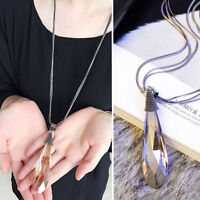 Women's Twining Drop Crystal Pendant Ladies Long Chain Necklace Sweater Jewelry
