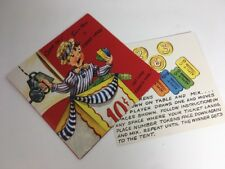 Vintage Get Well Greeting Card with Circus Land Board Game Unused Mid-Century