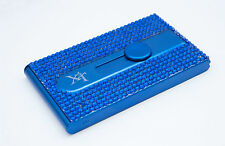 Blue Crystallized Bling Bling Automatic Business Card Holder