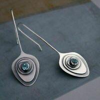 Vintage Women 925 Silver Sapphire Dangle Drop Ear Hook Fashion Wedding Earrings