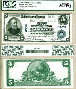 1902 PB $5 The First National Bank of Salamanca, NY Fr.607 CH#2472 AU50 PPQ