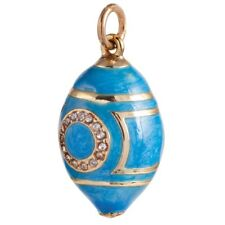 Russian Faberge Egg Pendant Made Crystals in Russia Blue Gold Flower SALE!