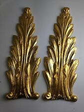Large Gold Laurel Leaf Neoclassical Table Door Mounts