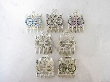 Silver metal circles and flowers crystal alligator hair claw clip clamp barrette