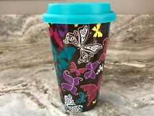 ECO ONE Ceramic Double Wall Insulated Travel Coffee Mug. Butterflies. New.