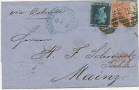 2427 1868 QV large white corner letters 4d verm. pl.9 wing margin 2d blue pl.9