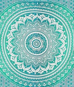 Indian Mandala Tapestry Wall Hanging Hippie Twin Size Bedspread Ombre Dorm Decor