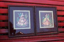 PAIR OF VINTAGE VICTORIAN LADIES PICTURES IN MAROON MATTED WOOD FRAMES