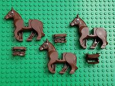 Lego BROWN HORSE with SADDLE HORSE MINIFIGURE WESTERN CASTLE Lot of 3