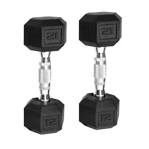 New 12 lb (Pair) CAP Hex Rubber Coated Dumbbells Set Total 24 lbs FREE SHIPPING