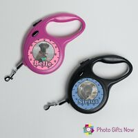 PERSONALISED PHOTO RETRACTABLE DOG / PET LEAD / EXTENDING LEADS/PINK/BLACK 5mts