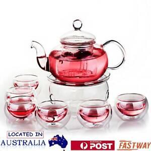 Glass Teapot Set Filtering Tea Maker Teapot with a Warmer and 6 Tea Cups Set AU