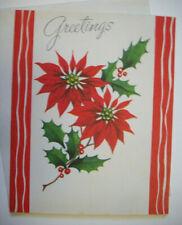 Poinsettia & Holly 50's Mcm vintage Christmas greeting card unused *7B