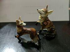 2 Vintage Miniature Bone China Figurine Japan - Fox Family