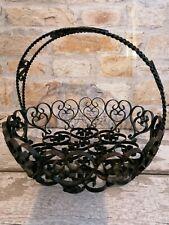 Black Wire Filigree Metal Basket With Handle Egg Bread Fruit Storage