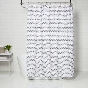 "PROJECT 62 Textured Stripe Shower Curtain | 72"" x 72"" Black/White | 🆕"