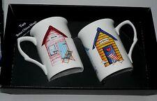 Beach Hut mug gift set 2 x bone china single beach hut mugs - in black gift box