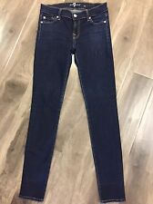 "7 For All Mankind Women's The Skinny Dark Denim Jeans Waist Tag 25"" Actual 26"""