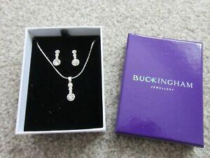 Buckingham Jewellery Cubic Zirconia Necklace and Earring Set