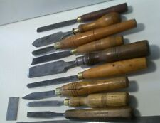 9 VINAGE WOOD TURNING chisels and gouges