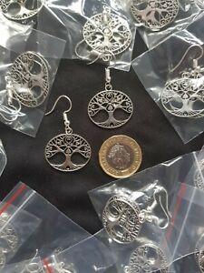 Tree Of Life Tibetan Silver Love Heart Earrings Yoga Meditation Buddha Chakra