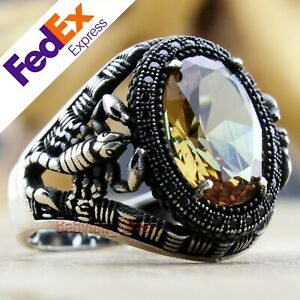 Alexandrite Change Color Stone 925 Sterling Silver Scorpion Men's Ring All Sizes