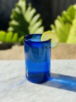 Mexican  Hand Blown Glassware Solid Cobalt Blue Original Tumbler 16 oz. Set of 6