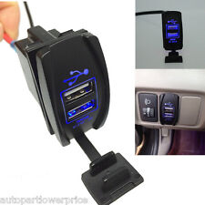 12V 3.1A Car Boat Rocker Switch Dual Port USB Charger Socket Waterproof LED Blue