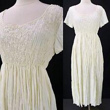 Vintage 90s Rampage Ivory Rayon Pleated Skirt Smocked Babydoll Grunge Dress S/M