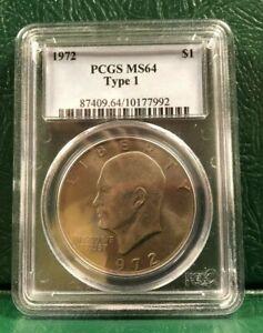 1972 Eisenhower Dollar Type 1 graded PCGS MS64