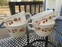 Vintage Pyrex Milk Glass Coffee Cups Mugs Wheat & Berries Corning USA Set of 4