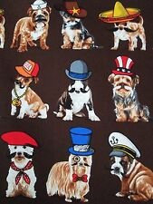 Who's Your Doggy? Puppies & Dogs Brown Benartex Cotton Fabric #3029 By the Yard
