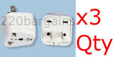 3PK Universal North American Plug Adapter Euro Asia Plug to USA style