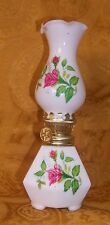 "VINTAGE Glass w/Pink Rose Kerosene Oil Lamp Made In Japan 7.25""T"