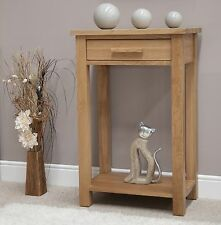 Nero solid oak furniture small console hall table with felt pads