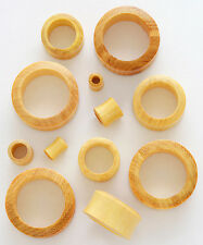 "PAIR 3/4"" 19mm Ear Plugs Gauges Flesh Tunnel Blond Jackwood Wood Organic ML12A"