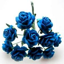 "(50pcs) Blue Roses 5/8"" - Mulberry Paper - Artificial Flower Heads Wedding Craft"