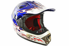 FULL FACE DOWNHILL MOTOCROSS FIBREGLASS BIKE HELMET B.E. DRAGON 59-60cm BLUE