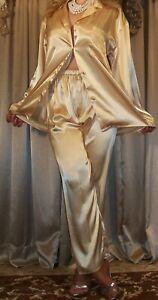 Vtg Style Fair Gold Satin Long Sleeve Button Top Lounge Pants Pajama PJ Set S M